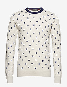 Cotton melange crewneck pullover with all-over print - COMBO D