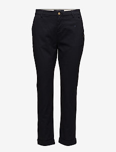 Chino with small embroidery - chinos - navy