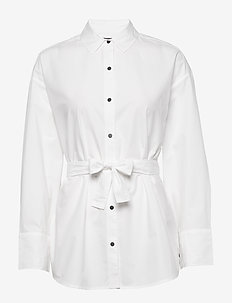 Oversized fit clean shirt with lace-up detail at the back - WHITE