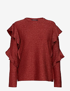 Long sleeves lurex top with ruffles - BRICK