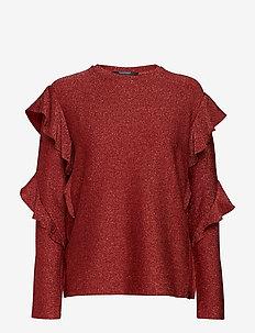 Long sleeves lurex top with ruffles - BRICK