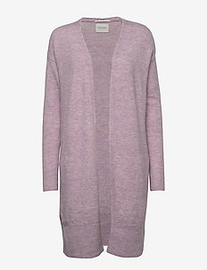 Longer length knitted cardigan in fluffy yarn - LILAC MELANGE