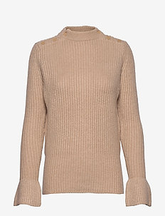 Cosy pullover knit with tonal press buttons at shoulders - PEARL PINK