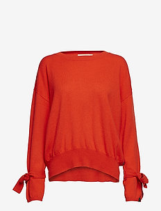 Cashmere blend relaxed fit crew neck knit with ties at sleev - POPPY RED