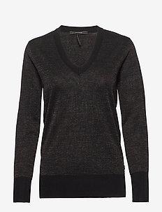 V-neck lurex knit - BLACK