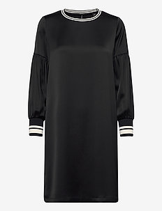 Dress with voluminous sleeves and sporty ribs - BLACK