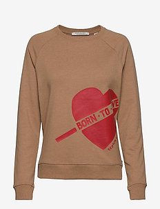 'Born To Love' Sweat with side heart artwork - CAMEL MELANGE