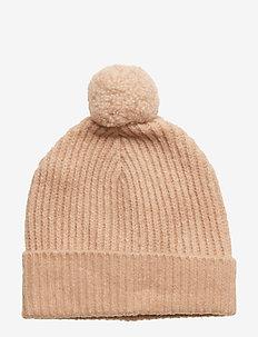 Wool blend knitted beanie - kapelusze - pearl pink