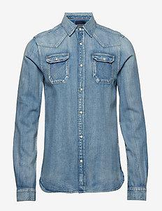 SLIM FIT Ams Blauw premium denim shirt in seasonal wash - BLEACHED INDIGO