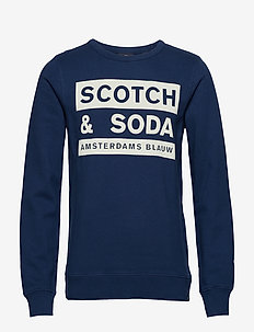 Scotch and Soda Ams Blauw graphic sweat - TEAL NAVY
