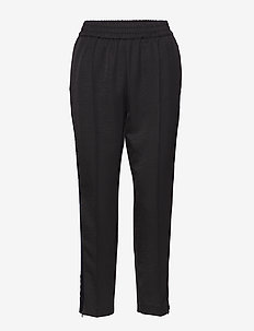 Tailored pants with velvet side tapes - BLACK