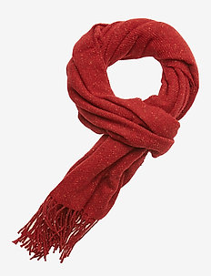 Woven scarf in wool blend quality with neps - RUST