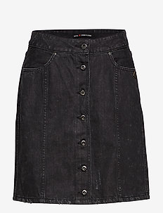 Black denim pencil skirt - WASHED BLACK