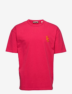 Oversized dropped shoulder tee in heavy jersey quality with - basis-t-skjorter - magenta