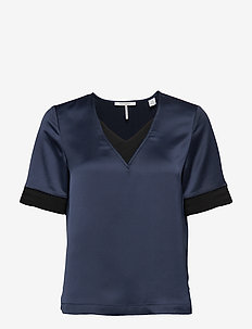 V-neck top with rib details - NIGHT