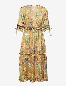 Midi length dress with v-neck and ruffles - COMBO A