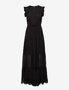 Tiered maxi dress with sheer inserts - BLACK