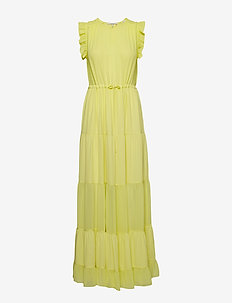 Tiered maxi dress with sheer inserts - LIME