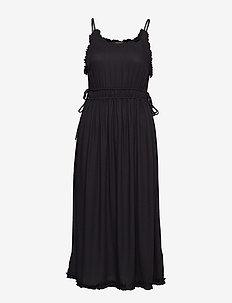 Viscose summer midi dress with straps - BLACK
