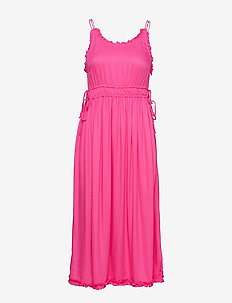 Viscose summer midi dress with straps - CANDY PINK