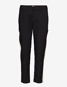 Tailored stretch pants with contrast side panel - BLACK