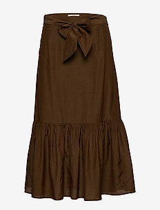 Belted midi length skirt in sheer viscose quality - MILITARY