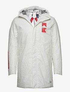 Hooded long jacket - vindjakker - off white