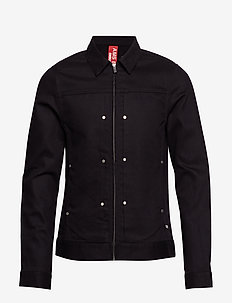 Clean trucker jacket with contrast trims - BLACK