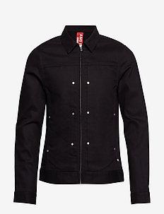 Clean trucker jacket with contrast trims - denimjakker - black