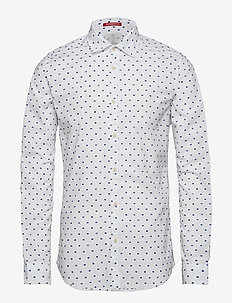 Slim fit crispy L/S shirt with prints - casual - combo d