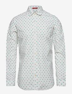 Slim fit crispy L/S shirt with prints - casual - combo e