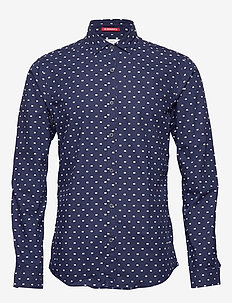 Slim fit crispy L/S shirt with prints - casual - combo f