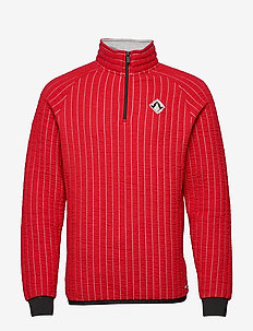 Regular fit half-zip sweat in special 3d quilting - LIFEGUARD RED