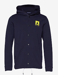 Ams Blauw hoody with press button closure in clean quality - hættetrøjer - navy