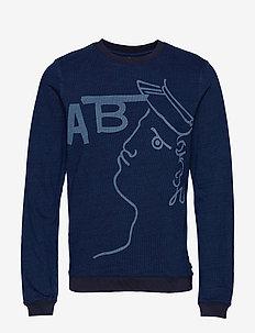 Ams Blauw indigo sweat with seasonal artwork - INDIGO