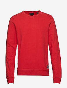 Ams Blauw garment dyed sweat with special oversized label - LIFEGUARD RED