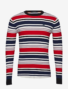 Longsleeve tee in 3D waffle with deck chair stripes - COMBO A