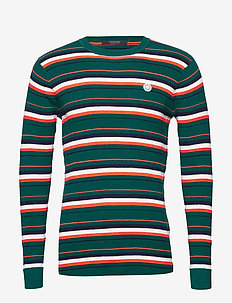 Longsleeve tee in 3D waffle with deck chair stripes - pulls col rond - combo b