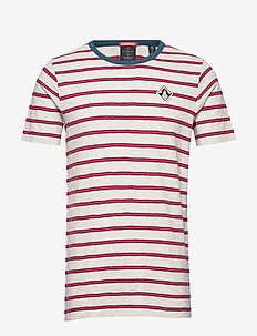 Ams Blauw yarn dyed mel stripe tee in regular fit - kortermede t-skjorter - combo a