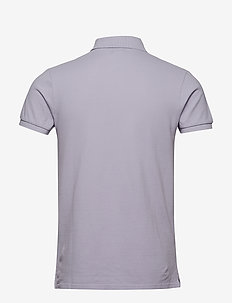 Blauw garment dyed polo - kortærmede - faded lavender
