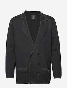 New longer length double breasted knitted blazer - NIGHT
