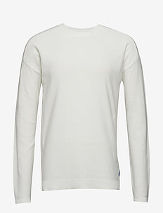 Club Nomade easy crew neck knit in special structure - OFF WHITE