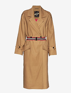 Longer length drapy trench coat comes with a waist-belt - SAND