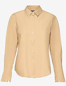 Clean shirt with special pleated sleeves - långärmade skjortor - sand