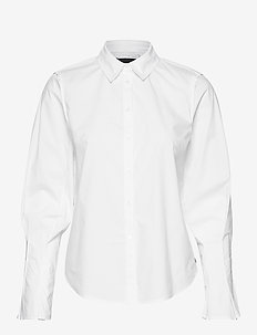 Clean shirt with special pleated sleeves - WHITE