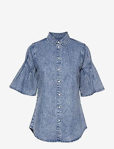 Denim shirt with acid wash and pleat sleeve detail. - MATCHY MATCHY