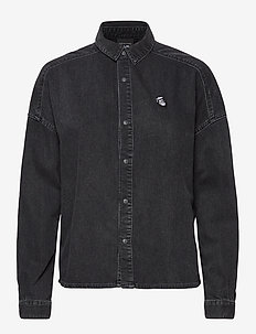 Brutus Ams Blauw colab black denim shirt - jeansskjortor - brutus black