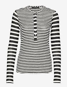 Striped grandad long sleeve tee - COMBO A