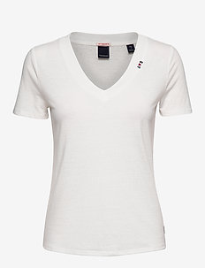 Feminine tee with deep V neck in linen mix quality - OFF WHITE