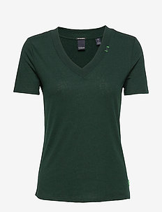 Feminine tee with deep V neck in linen mix quality - SEAWEED GREEN